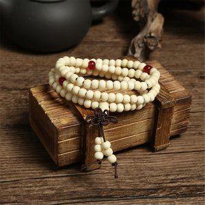 White Sandalwood Tibetan Buddhist Mala Bracelet